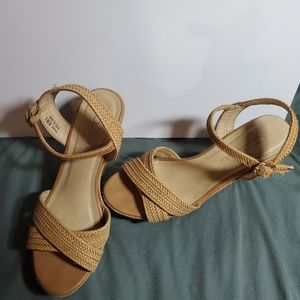 CL by Laundry Cork Wedges Braided Leather size 8